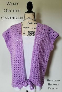 Crochet Blusas Crochet the Wild Orchid Cardigan with this free and easy pattern. This lightweight women's top will become a must have favorite! Gilet Crochet, Crochet Jacket, Knit Crochet, Crochet Vests, Crochet Sweaters, Crochet Tops, Crochet Shirt, Kimono Pattern Free, Crochet Cardigan Pattern
