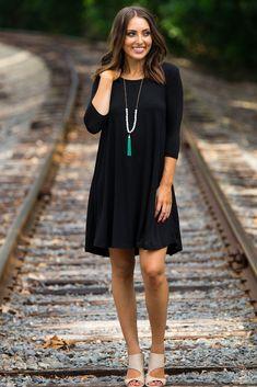 The Perfect Piko 3/4 Sleeve Swing Dress-Black- Size Medium