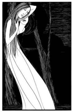 'Out of the Night a Shadow Passed', Hannah Frank (1928) Pen and ink 46.2 cm x 29.2 cm. Prints available for sale.