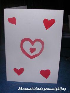 Decoración de las tarjetas de San Valentin. Kids craft. Heart Card