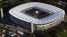 Commerzbank-Arena, Frankfurt a. Soccer Stadium, Football Stadiums, Countries Around The World, Around The Worlds, German Football League, Stadium Architecture, Architecture Design, World Cup Stadiums, Association Football