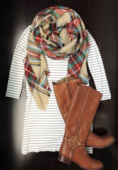 Striped dress, plaid scarf, tall boots | You can find this at => http://feedproxy.google.com/~r/amazingoutfits/~3/lJJJiAsig30/photo.php