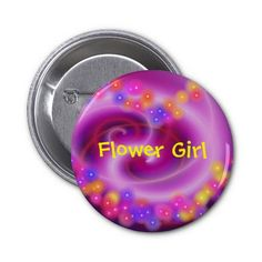 Flower Girl Swirly Heart Button #flowergirl #weddings #gifts #button #badge