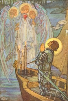 Florence Harrison ~ Three Angels Bear the Holy Grail ~ Tennyson's Guinevere and Other Poems ~ 1912 ~ via