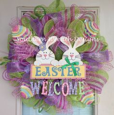 easter mesh wreath | Easter Welcome Bunny Deco Mesh Wreath by SouthernWreathDesign