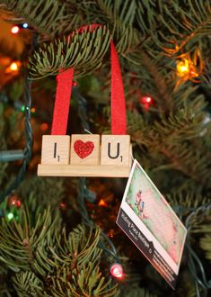I Love You, Scrabble Ornaments, I Love you Ornament, Love Ornament, Christmas Ornament, I heart you, I love Mom, I love Dad, Mimi, Nana,