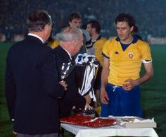 Juventus 2 FC Porto 1 in May 1984 in Basel. Juventus captain Gaetano Scirea is about to lift the European Cup Winners Cup trophy.