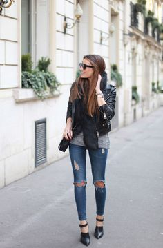 Ripped Jeans, Leather Jacket