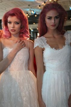 Backstage at Ida Sjöstedt SS 2013. I love the girl on the left's hair.