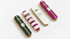 To celebrate 80 years of Lacoste, Fauchon created four limited edition eclairs, decorated with Lacoste's iconic crocodile. This is a tasty example of one brand incorporating another brand's symbols into its own signature products.