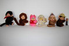 6 vintage Monchhichi curtain Clip Ons toys huggers plush dolls figures Monchichi