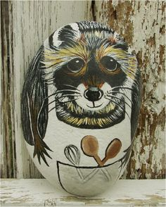 Bushy Brows Kitchen Raccoon  hand painted rock cookbook by RocksOK, $15.00
