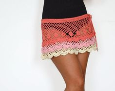 Coral skirt summer skirt beach skirt crochet skirt by TaramayKnit