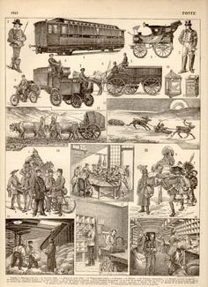 Postal System 1897 Antique Print Vintage Lithograph by Craftissimo, €12.00
