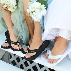 Make your wedding day fun and unique for bridesmaids, guests, and more with our Personalized Flip Flops! Complete with a grosgrain foot strap and comfortable foam rubber heel, all feet will be kept in immaculate condition with our wedding flip flops. Bridesmaid Flip Flops, Wedding Flip Flops, Bridesmaid Gifts, Bridesmaid Sandals, Bridesmaid Hair, Personalized Flip Flops, Personalized Wedding, Personalized Gifts, Dream Wedding