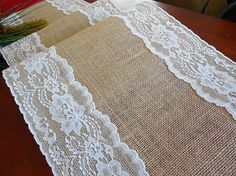 A beautiful dressed table makes your event special!Rustic, but with a touch of elegance, this runner is made of natural color burlap with a lovely ivory lace sewn down the edges. It is 12 wide.I have the lengths options available at check-out. If you are not sure what size will fit