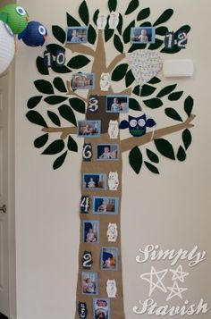 first birthday tree photo collage Will totally do this with Charli's pics!! Perfect for the Owl theme!!!