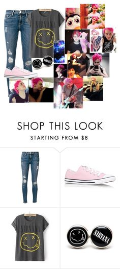 """""""Hanging out with pink haired Michael!"""" by punkrockscreams ❤ liked on Polyvore featuring Frame Denim and Converse"""