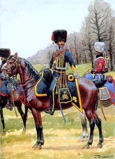 NAP- France: French Imperial Guard Horse Artillery, by Lucien Rousselot. Military Art, Military History, Dragons, Military Costumes, French Empire, French Army, Napoleonic Wars, Kaiser, Toy Soldiers