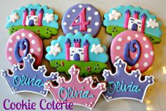 Princess or Prince Cookie Assortment Castle Crown Tiara Monogram Cookies Birthday Favors One Dozen by CookieCoterie on Etsy https://www.etsy.com/listing/119280460/princess-or-prince-cookie-assortment