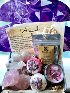 Monthly boxes include bath soaks, bath bombs, soaps , candles and crystals. Spiritual Bath, Spiritual Guidance, Savon Soap, Bath Recipes, Gift Of Time, Peeling, Diy Candles, Bath Salts, Candle Making
