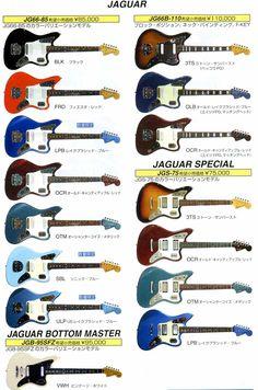 Fender Japan presents Jaguar series. Top right is my baby. Guitar Kits, Guitar Amp, Cool Guitar, Jazz Guitar, Fender Jaguar, Guitar Exercises, Guitar Logo, Beautiful Guitars, Guitar Design