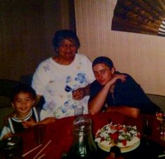 Young calum hood with nana and cousin