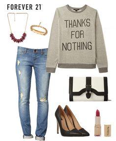 calça jeans rasgada c/ sweater ♥