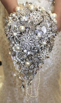 Large Vintage heirloom brooch bouquet, weddings brides bouquet, trailing £295.00