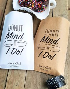 Donut Mind If I Do Favor Bags can be found at Rooted Manor at Etsy! Click on the picture for more information. Wedding Menu Favor Bags Candy Buffet by RootedManor