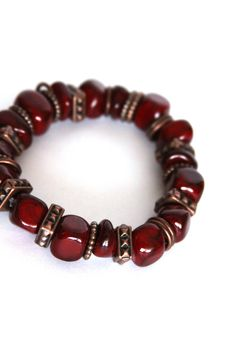 Copper Bracelet Red Bracelet Beaded Bracelet by DlightedJewelry, $20.00