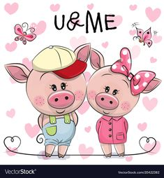 Buy Two Pigs on a Hearts Background by on GraphicRiver. Two cute Cartoon Pigs on a hearts background This Little Piggy, Little Pigs, Cartoon Cow, Cute Cartoon, Cartoon Mignon, Pig Drawing, Pig Illustration, Tampons Transparents, Pig Art