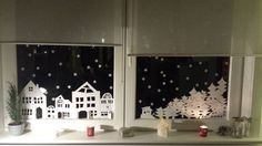 Window picture Winter landscape for printing - Diy Winter Deko Christmas Villages, Christmas Art, Winter Christmas, Paper Christmas Decorations, Holiday Decor, Merry And Bright, Creative Home, Christmas Crafts, Window Picture
