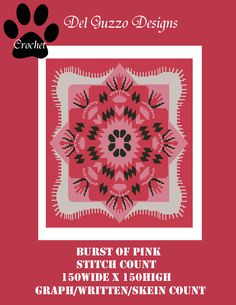 Burst of Pink Crochet Graph Graphghan Pattern Word Chart WITH WRITTEN INSTRUCTIONS, skein and stitch count by DelGuzzoDesignStudio on Etsy
