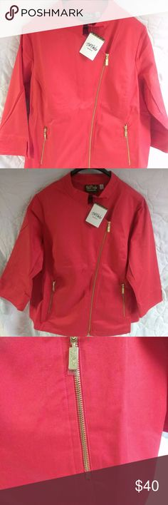 Bob Mackie Red wearable art jacket.  98% cotton and 2% spandex. Gold zipper accents. Bob Mackie Jackets & Coats Blazers