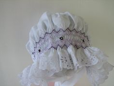 Hand smocked white baby BONNET with purple and by simonamm on Etsy, $25.00