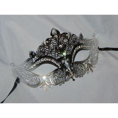 Black and Silver Rhinestone Metallic Masquerade Mask with Gem Accents ($38) ❤ liked on Polyvore featuring costumes, party costumes, masquerade costumes, masquerade halloween costumes and party halloween costumes