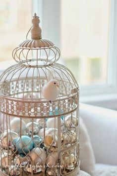 Birdcage with Christmas bulbs and a dove. So peaceful and beautiful! | Craftberry Bush: Deck the Halls - Holiday House Walk 2013 - Stop 30