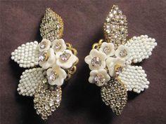 Estate Find...Stunning Vintage Crystal Rhinestone Flower Earrings Miriam Haskell