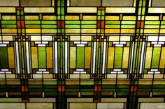 Stained Glass Skylight at Frank Lloyd Wright's Studio in Chicago by Benjamin Padgett    Frank Lloyd Wright added a studio to his Chicago home in 1898. Wright and his associates designed 125 structures here while developing his trademark Prairie style. The home and studio are beautifully preserved and are open for tours. Photos of the studio cannot be used commercially, so click thru and feel free to use my photo as a beautiful wallpaper on your computer!