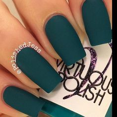 A manicure is a cosmetic elegance therapy for the finger nails and hands. A manicure could deal with just the hands, just the nails, or Teal Nails, Matte Nails, Fun Nails, Matte Green Nails, Emerald Nails, Teal Acrylic Nails, Dark Green Nail Polish, Dark Color Nails, Dark Purple Nails