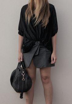 all black | alexander wang asymmetric leather skirt and bag, helmut lang top