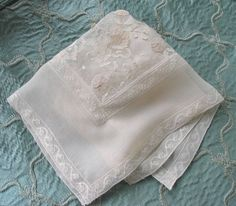Silk Bridal Handkerchief with Vintage by marypearlsvintage on Etsy, $78.00