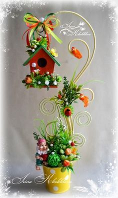 birdhouse and gnomes Cup Crafts, Easter Crafts, Crafts To Make, Home Crafts, Christmas Crafts, Arts And Crafts, Christmas Decorations, Xmas, Deco Floral