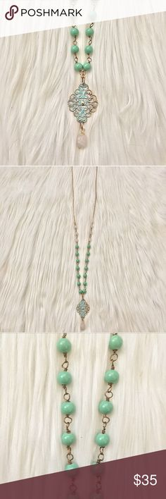 HANDCRAFTED BRASS, MINT GREEN & QUARTZ NECKLACE NEW, HANDCRAFTED.  PRETTY LONG WIRE WRAPPED BRASS NECKLACE WITH MINT GREEN & WHITE QUARTZ BEADS & PATINA BRASS PENDANT adorned by amie Jewelry Necklaces