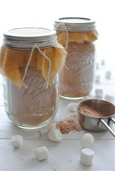 Spiced Hot Chocolate Mix in a Jar. Great for a Christmas gift or a gift for any occasion.