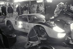 A Ford GT40 in the pits at the 1966 24 Hours of Daytona. In this race the GT40's bested Ferrari and finished 1-2-3. They would do the same a few months later at the 24 Heures du Mans.