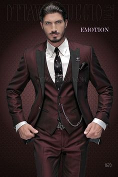 Black and burgundy mohair wool blend groom suit with matched vest