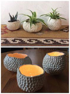 White Ceramic Pinch Pots - White Planter - White Candle Holder - ready to ship by SeiskoCeramics on Etsy https://www.etsy.com/listing/579027029/white-ceramic-pinch-pots-white-planter