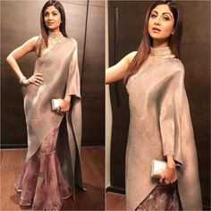 Shilpa in beautiful saree Indian Designer Outfits, Designer Dresses, Indian Dresses, Indian Outfits, Drape Sarees, Bollywood Fashion, Bollywood Style, Saree Gown, Vogue
